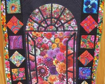 Floral Window Quilt / Handmade Floral Lap Quilt / Quiltsy