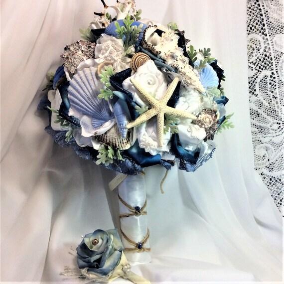 Beach Wedding Bouquet Flowers Blue White Flower Nautical Seashell Bridal