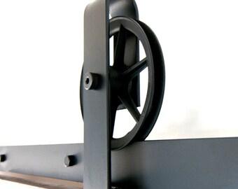 Vintage Industrial Spoked Sliding Barn Door Hardware Set