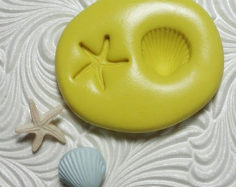 MINI STARFISH SHELL Duo Flexible Silicone Rubber Push Mold for Resin Wax Fondant Clay Ice