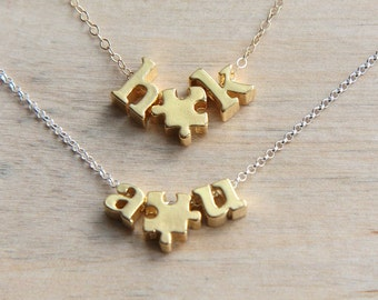 Gold Alphabet Necklace, Couple Initials Necklace, Puzzle Necklace, Gold Letter Necklace, Personalized Necklace, Lowercase Letter Necklace