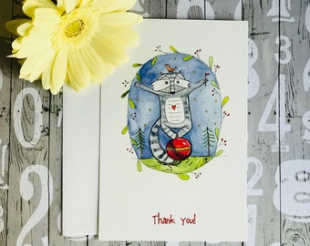 """Set of 10 cards - Racoon 4"""" x 6"""" Thank you Cards"""