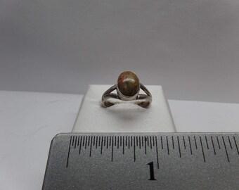 Vintage Sterling Silver Unakite Ring / FEM