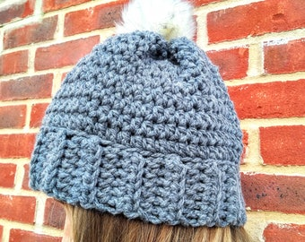 Grey Chunky Crochet Aspen Beanie With White Pompom