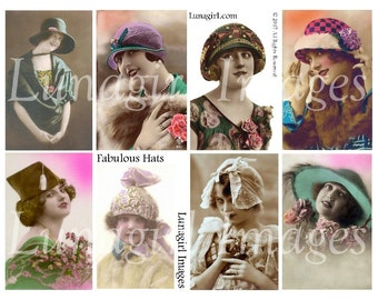 FLAPPERS HATS digital collage sheet, vintage women girls 1920s fashions, bright tinted postcards vintage photos Ladies art ephemera DOWNLOAD