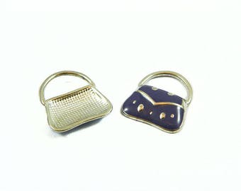 Purse charm - silver, purple enamel