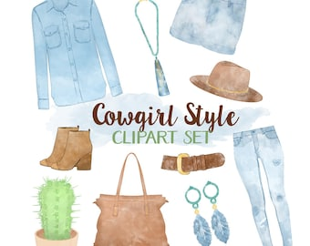 Fashion Clipart, Cowgirl Clipart, Country Clipart, Watercolor Fashion Clipart, Western Graphics, Fashion Girl Clothes Illustrations