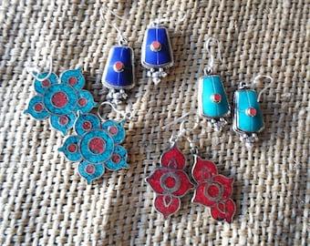 Tibetan alpaca and semiprecious stones earrings