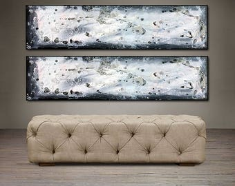 "Gray Area - 48"" X 24"" Original Abstract Art . Enjoy free shipping within USA"