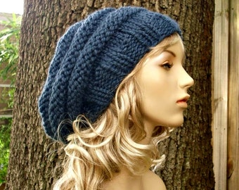 Knit Hat Womens Hat Slouchy Beanie - Original Beehive Beret Hat in Denim Blue Knit Hat - Blue Hat Blue Beret Blue Beanie Womens Accessories