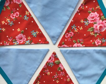 Vintage style teal blue red pink floral bunting | 12 flags | wedding | baby | nursery | kids room | country cottage