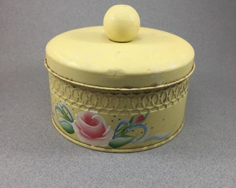 "Butter Yellow Hand Painted Floral 6"" Diameter Tin Cannister"