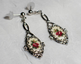 Petit Point Vintage Silver Earrings with Red Rose