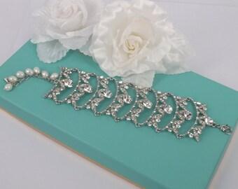 Layla - Vintage Style Rhinestone Crystals Wedding Bracelet