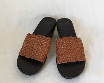 Vintage Woven Leather Mules