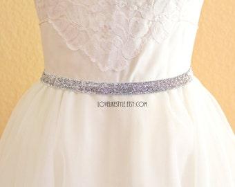Skinny Silver Gltter Elastic Lace Belt, Bridal silver belt , Bridesmaid Silver Belt,  Sash Belt