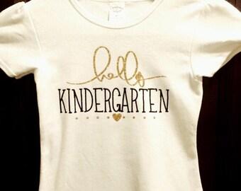 Hello Kindergarten shirt, Back to School Top, First day of school shirt, Hello Kindergarten tshirt, 1st day of school tee, girls shirt
