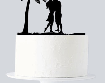 Beach Cake Topper, Couple kissing, Destination Wedding Cake Topper, Married by the Sea A606