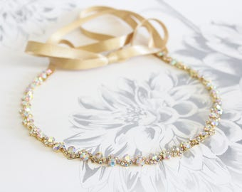 Gold Wedding Headpiece AB Crystal Bridal Headband Bridal Rhinestone Hair piece Wedding Ribbon Headband bracelet belt bridesmaid