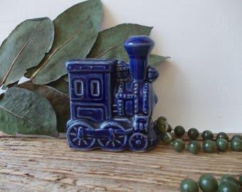 Porcelain Vase TRAIN / Swedish Home Decor \ Miniature vase / Tiny Train  / Engine vase / Cobalt blue decor