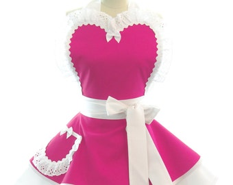 Retro Apron Wedding Dress Cover Up in Hot Pink - Vintage Style Wedding Day Womans Apron - Perfect for Bridal Party + Bridesmaids Too
