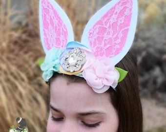 Handcrafted Spring Easter Bunny Ear Headband - Pastel Easter Headpiece - Big Rabbit Ears Headband - Adult Bunny Ears Headband - Toddler Bows