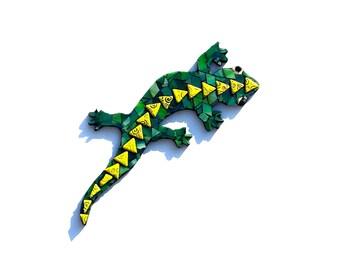 Mosaïque de lézard, Art Gecko vitrail, vert Tropical Home Decor, oeuvre mixte