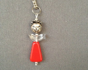 red kitty angel necklace