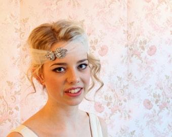 Gatsby, 1920's bridal veil, bridal headband, wedding veil, weddings, veils, silver crystal comb veil bridal head piece wedding hairpiece