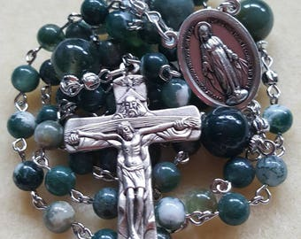 Moss Agate Rosary Beads with Miraculous Medal Centerpiece.