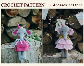 Crochet Amigurumi Pattern Elephant Wendy Pattern Elephant Baby Shower Girl Amigurumi Toy Pattern Crochet Animal Pattern