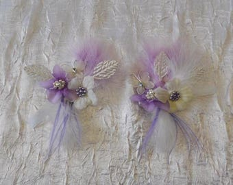 """Wedding procession"" hair clip purple and ivory"
