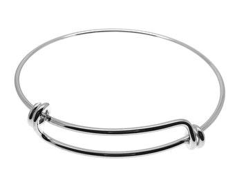 1 Expandable Silver Wire Bangle Bracelet | Silver Wire Bangle | Stacking Charm Bracelet | Adjustable Bangle -- 34810-2