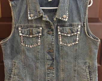 Jean Vest - Up-Cycled - Machine Embroidered