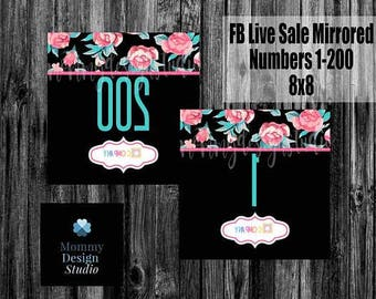FB Live Sale Mirrored Numbers - Leggings Business - Pink and Teal Rose Mirrored Numbers - VIP Shop Group - Shop the Box - Party Link