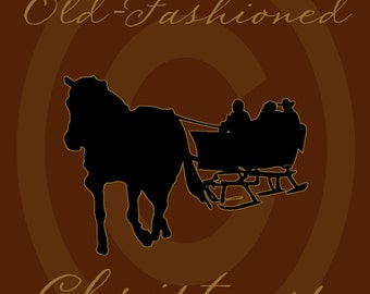 Primitive Colonial Redware Look Old Fashioned Christmas Sleigh Horse Winter Printable Digital JPEG Instant Download Folk Art FAAP