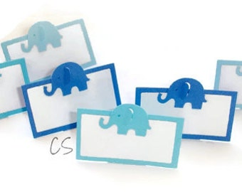 Mixed Blue Elephant Place Cards, Table Decoration or Choose Your Colors-Set of 12 pcs