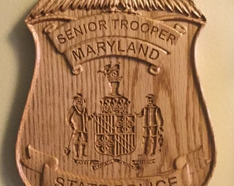 Maryland State Trooper Wall Art badge sign decor