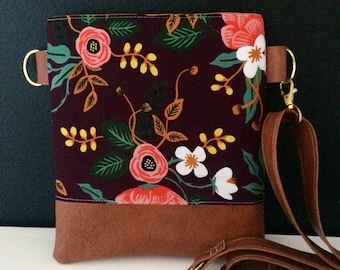 Floral in eggplant Cross-Body (Rifle Paper Co.)