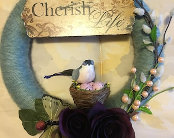 Wreath Cherish Life Nature Bird & Butterfly