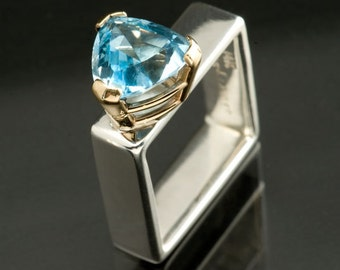 Swiss Blue Topaz Trillion Sterling Silver Square Ring, Alternative Engagement Ring, 14kt Yellow Gold and Sterling Silver