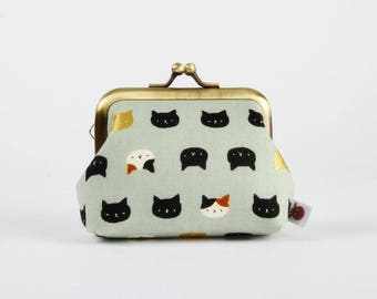 Metal frame change purse - Mini Neko cats on light sage green - Big mum / Kawaii japanese fabric / greyish green black and white gold
