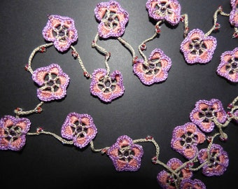 """long necklace or sautoir """"Pansies"""" cotton crochet and beads"""