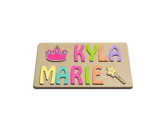 Little Princess Personalized Wooden Two Name Puzzles Princess & Crown id241139311
