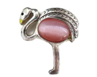 Jelly Belly Bird Brooch, Vintage Pink Belly Brooch, AAI Bird Pin, Moonstone Pin, Silvertone Bird Brooch
