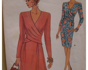 Front Overlay Dress Pattern. Plus Size, Straight Skirt, V Neck, Flared/Straight Skirt, Long Sleeves, Vogue No. 8414  UNCUT Size 18 20 22