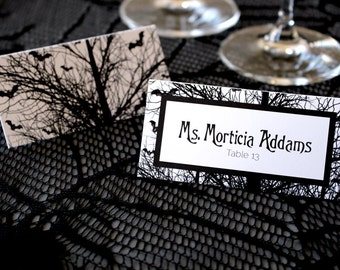 FULL SERVICE Halloween Bats Tree Escort Cards Gothic Spooky Black and White Wedding Place Cards -Halloween Font