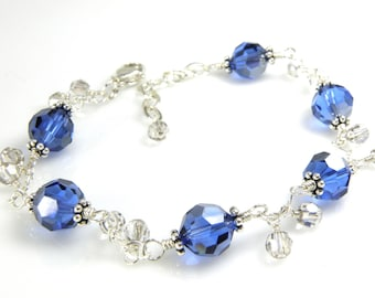 Sapphire Blue and Gray Swarovski Crystal Bracelet, Sterling Silver, Navy Bridesmaid Jewelry, Autumn Wedding, September Birthstone Birthday