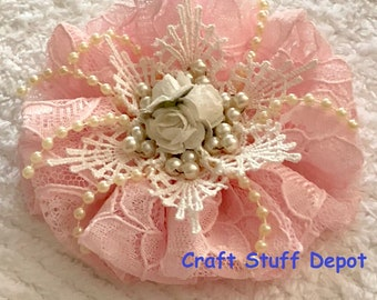 RESERVED, Handmade Flower, Shabby Chic, Lace Rosette, Embellishment, Package Topper, Hair Ornament, Brooch, Trim, Book Cover, Pink Lace