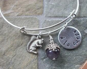 A La Carte Acorn Squirrel Adjustable Bangle Bracelet - Amethyst Gemstone - Autumn - Fall - Purple Fan